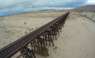 Well-photographed subjects, like this train trestle, takes on a whole different look from a bird's-eye perspective.