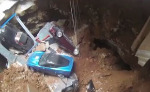 Drone gets a closer look inside the Corvette-eating sinkhole