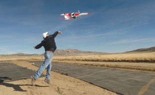 The fixed-wing PrecisionHawk Lancaster 5 being launched during the TCL2 demonstration at Reno-Stead Airport, October 2016. (Photo courtesy of NASA Ames/Dominic Hart)